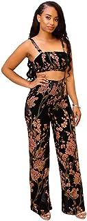 592c849f35b0 Mujer Dos Piezas Top Crop Set Y Pantalones Verano Vintage Ropa de Fiesta  Elegante Florales Moda