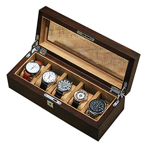 5 ranuras Caja de reloj de madera Relojes de madera con tapa...