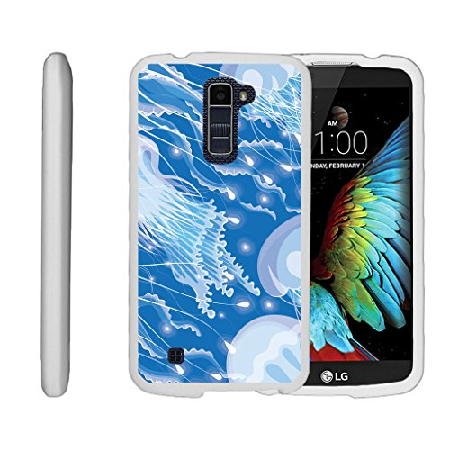 Compatible with LG K10 Case (2016) | LG Premier Case [Slim Duo] Hard Shell Snap On Case Compact Cover Matte on White Sea Ocean by TurtleArmor - Jellyfishes