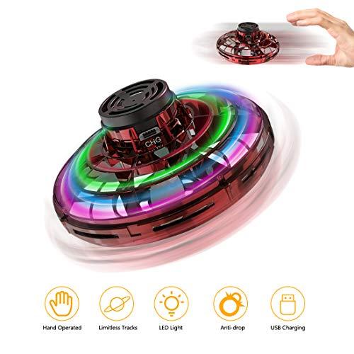 welltop UFO Mini Drohne, Kinder Spielzeug Handsensor Quadcopter Infrarot-Induktions-Flying Ball Fliegendes mit 360 ° drehbaren und Shinning LED-Lichtern Spielzeug Geschenke für Jungen Mädchen (Rot)