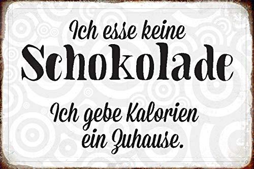 FS spreuk Geen chocolade calorieën blikken bord gewelfd Metal Sign 20 x 30 cm