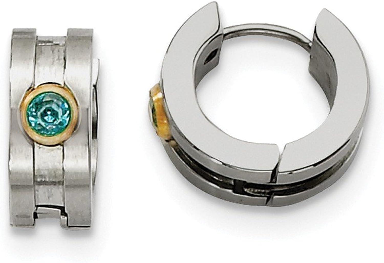 Beautiful Stainless Steel Teal CZ & Yellowplated Hinged Hoop Earrings