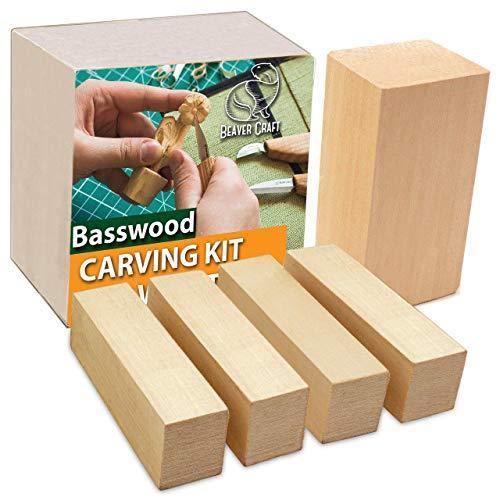 "BeaverCraft Basswood Wood Carving Blocks Set BW1 1pcs - 4""x2""x2"" 4 pcs - 1""x1""x4"" Wood Whittling Wood Kit for Beginners Wood Carving - Basswood for Wood Carving Hobby Kit for Adults for Kids"