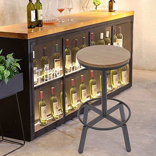 Taburete de bar,sillas de comedor estilo retro giratorio estilo americano,asiento giratorio sin reposabrazos, altura ajustable 66-90 cm metal+madera maciza color negro mate para salón,cafetería,bar