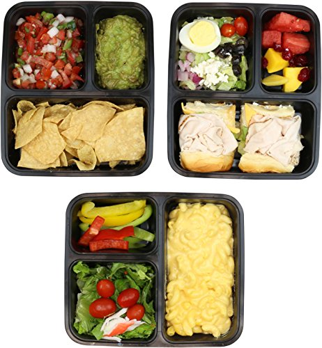 A set of food storage boxes filled with different types of food