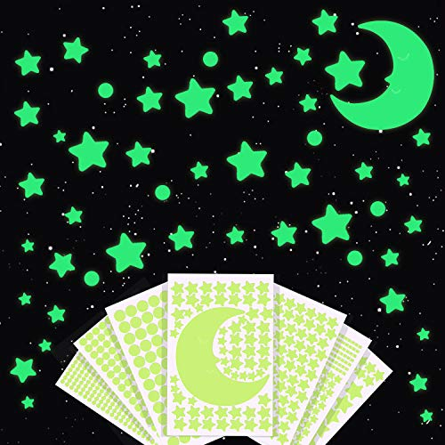 Glow in The Dark Stars Wall Stickers, 1037Pcs Fluorescent Adhesive Glowing Stars, Dots, Moon for Ceiling, Removable Luminous Wall Decals for Kids Bedroom, Best Gift for Birthday, Valentine's Day