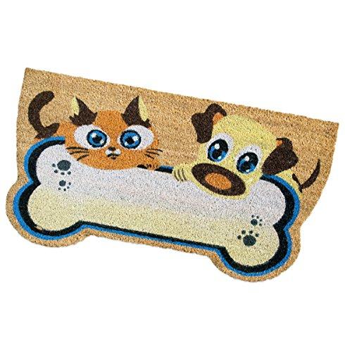 emmevi - Felpudo de coco para perro, gato, 40 x 75 cm, alfombra de entrada, rasqueta para barro, retro, antideslizante, modelo Spring, perro y gato hueso