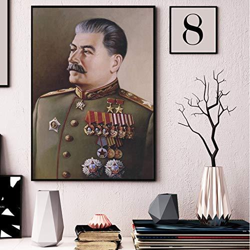 QINGRENJIE Stalin Portrait Wallpaper Wandkunst Leinwand Poster und Druck Leinwand Malerei Öl dekorative Bild Schlafzimmer Moderne Wohnkultur 40 * 60 cm ohne Rahmen