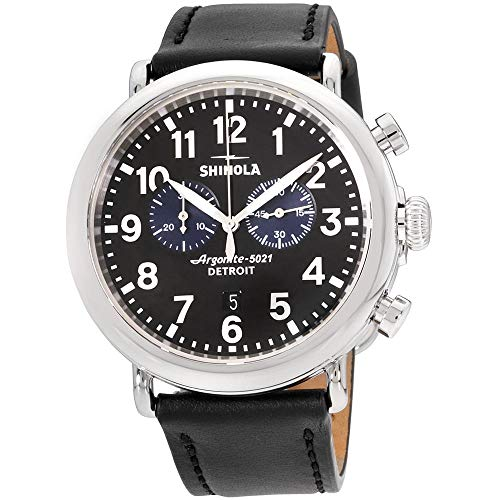 Shinola The Runwell Herren-Armbanduhr 47mm Armband Leder Batterie 20109242