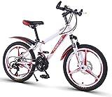 Aoyo Kinder Fahrrad, 20-Zoll-Variable Speed Mountain Bike - 21 Geschwindigkeit bequemer Sattel, rutschfestes Pedal, Federgabel, sicher und einfühlsam Brake, (Color : White, Size : B)