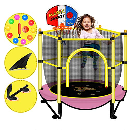 Mini Trampoline for Kids Indoor with Net Safety 5 FT Pink Little Small Outdoor Recreational Trampolines with Enclosure Rebounder Trampoline for Toddler Baby Play Equipment for Home