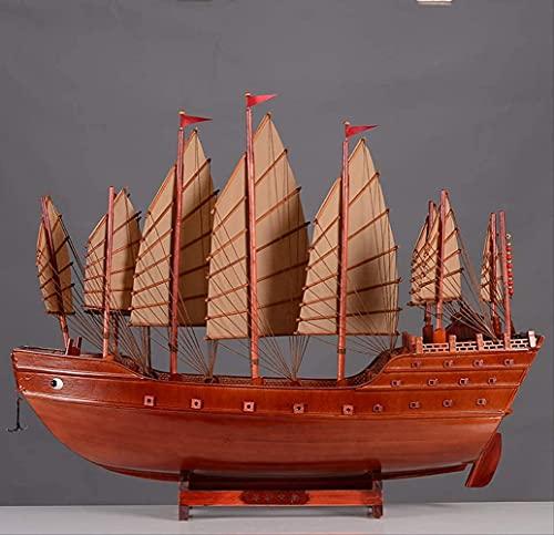 JANEFLY Decoracin para el hogar, estatuilla de Adorno, Antigua China, Hecha a Mano, Barcos de Vela de Madera, Modelo Artesanal, decoracin de Feng Shui Chino, Recuerdos de Regalo de velero