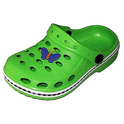 Magnus Kinder Clogs Hausschuhe (49A) Badeschuhe Badelatschen Pantoletten Schuhe Neu Größe 34/35, Farbe Grün