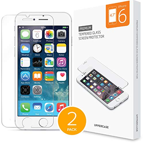 [2 Pack] UPPERCASE Designs Premium Anti-Scratch 2.5D Round Edge Case Friendly Tempered Glass Screen Protector, Compatible with iPhone 6 Only [4.7 inch Screen]