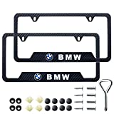 10. Schepal Two License Plate Stainless Steel Frames for BMW, Suitable for American Standard car License Plate Frames, Carbon Fiber Textured Glossy Surface, can Improve Your car