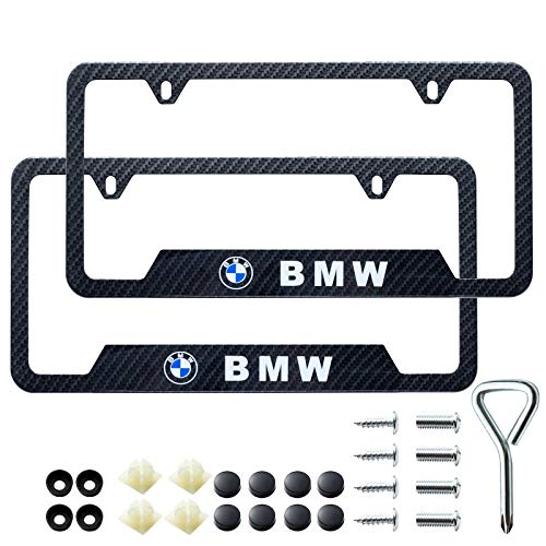 Two License Plate Stainless Steel Frames for BMW, Suitable for American Standard car License Plate Frames, Carbon Fiber Textured Glossy Surface, can Improve Your car