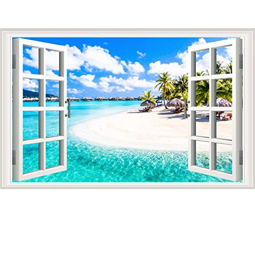 Fake Windows Wall Sticker Removable 3D Beach Seascape Faux Windows Wall Sticker Vinyl Self-Adhesive Beach Landscape Palm Tree Wall Mural Stickers for Bedroom Living Room Decoration