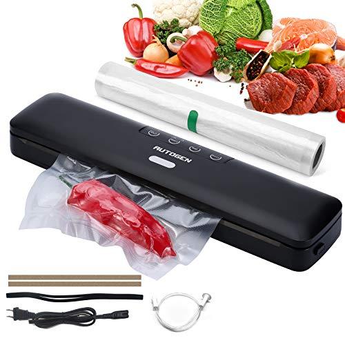 AUTOGEN Vakuumiergerät, Vakuumierer Vollautomatisch für Trockene und Feuchte Lebensmittel, Bleiben Vakuumiert bis zu 10x Länger Frisch, Starke Absaugung