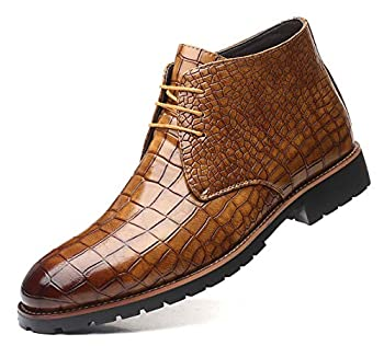 Mens Boots Casual Faux Alligator Patent Leather Martin Oxfords Ankle Lace-up Dress Boots Tan 12 US