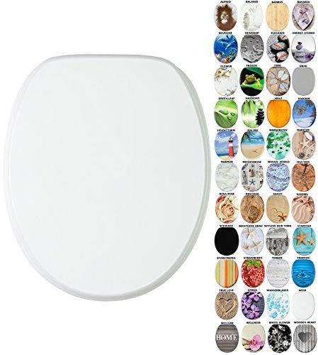 Sanilo WC-Sitz mit Absenkautomatik I Hochwertiger Toilettensitz aus Holz I Toilettendeckel in verschiedenen Motiven (Weiß)