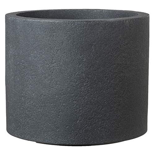 Scheurich Panzano Pflanzgefäß aus Kunststoff, Schwarz-Granit, Ø 29 cm, Höhe 25 cm