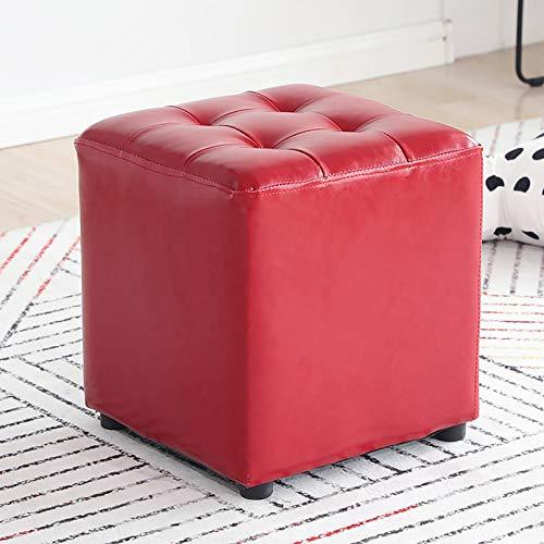 Cubos Puff Otomano,Cuero Pufffe Footstool Tapizado Madera Maciza Banco De Zapatos Sofá Asiento Asientos En El Piso Home Sofa Stool-Rojo 36 * 36 * 40cm(14.1 * 14.1 * 15.7inch)