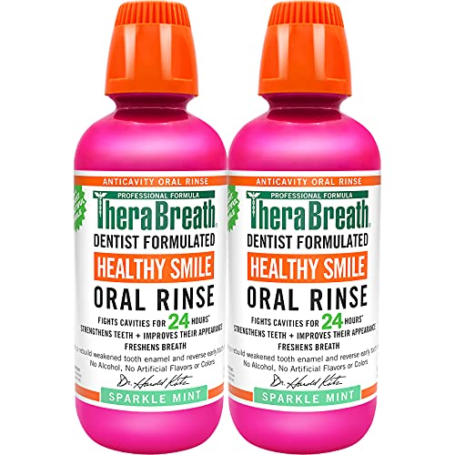 TheraBreath Healthy Smile Dentist Formulated 24-Hour Oral Rinse, Sparkle Mint, 16 Ounce (Pack of 2)