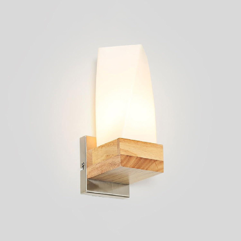Hines Kreative Japanische Massivholz Glas Schlafzimmer Nachttischlampe Wandleuchte Moderne Einfache Wohnzimmer Bar Lichter Holz E27 Edison Wandleuchte