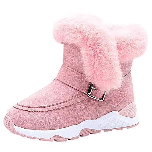 Beikoard Kinder Kind Baby Mädchen über das Knie warme Stiefel Winter Schuhe Hohe Stiefel Weihnachtsfeiertags Stiefel Lässige Stiefel (Rosa-2, 28)