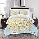 REIOIYE Bettbezug-Bettwäsche,Map United States Interstate Map America Cities Travel Destinations Road Route,Mikrofaser-1 Bettdecke-Bettlaken 240×260CM und 2 Kissenbezüge 50×80CM