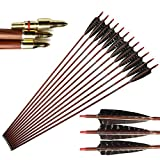 32' Carbon Arrows 550 Spine Wood-Like Arrow with 5' Real Feather Fletchings Removable Field Tips for Archery Target Practice Hunting Compound Recurve Bow Longbow 6 Pack