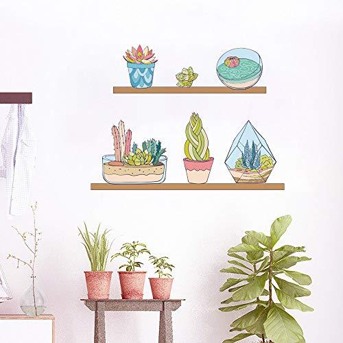 TFOOD Muurstickers, plant in vaas, schattig cartoon-motief, zelfklevend, van PVC, geschikt voor slaapkamer, huis, woonkamer, kinderkamer, thuisdecoratie, doe-het-zelf