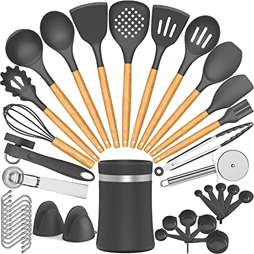 Umite Chef 38 Pcs Silicone Cooking Kitchen Utensils Set with Holder, Wooden Handles Spatula Set, Heat Resistant Silicone Turner Tongs Spoon Kitchen Gadgets Utensil Set for Nonstick Cookware (Grey)