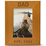 Dad est. 2021, Engraved Natural Wood Photo Frame, Fits a 5x7 Vertical Portrait, Frame for Dad, Grandpa, Father's Day