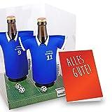 vereins-Trikot-kühler Away für Schalke Fans | 2er Geschenk-Box-Edition| 2X Trikots | Fußball Fanartikel Jersey Bierkühler by Ligakakao