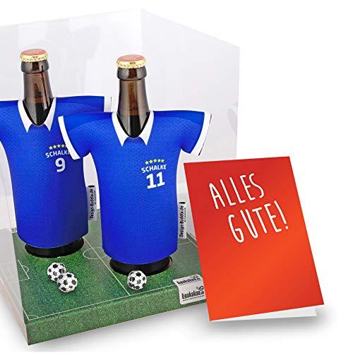 Der Trikotkühler | Das Männergeschenk für Schalke-Fans | Langlebige Geschenkidee Ehe-Mann Freund Vater Geburtstag | Bier-Flaschenkühler by Ligakakao