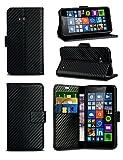 HTC Desire 530 - Black Carbon Fibre Style Leather Wallet