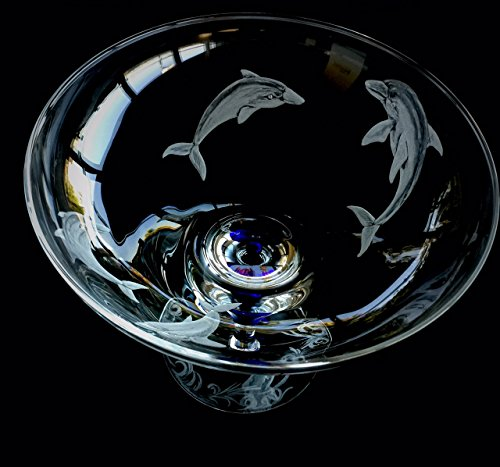 Hand Engraved Crystal Footed Bowl, Dolphins. Centerpiece Bowl, Home Decor, Crystal Orrefors Bowl, Dolphins