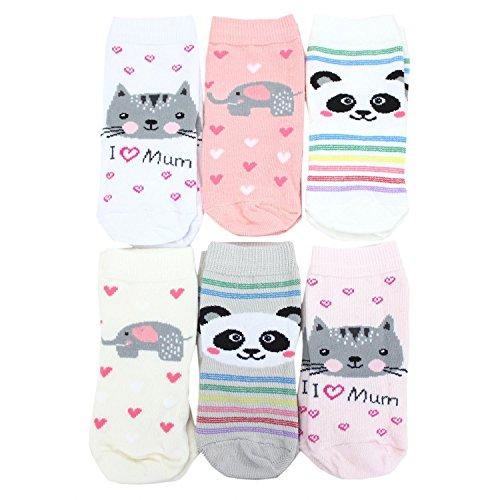 TupTam Calcetines Estampados de Colores para Niños, 6 Pares, Niña 3, 16-18