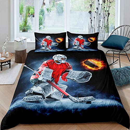 Manfei Hockey Bedding Set 3pcs for Kids Boys Teens Ice Hockey Sports Comforter Cover Burning Hockey Puck Ball Decor Duvet Cover Soft Polyester Quilt Cover with 2 Pillow Cases(No Comforter) Full Size