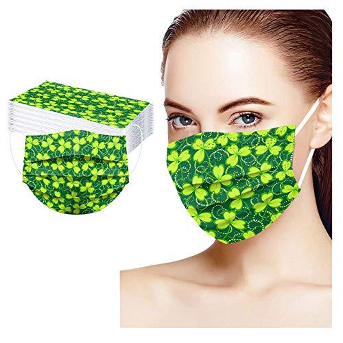 RUITOTP Día de San Patricio 30 Stücke Mundschutz Einweg Erwachsene Mund und Nasenschutz mit Grün Drucken, Universal 3-Lagig Bandana Multifunktional Halstuch