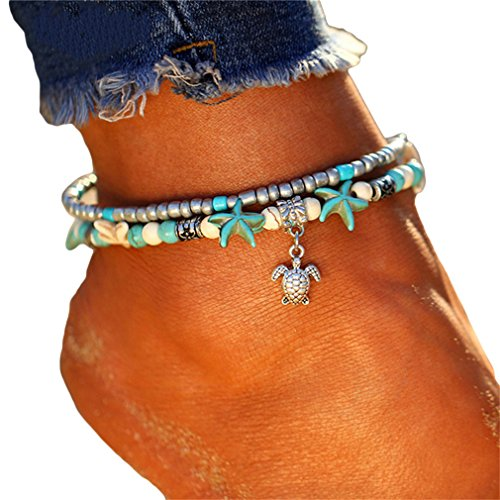 HENGSONG Vintage Starfish Turtle Anklets Lotus Tree of Life Anchor Elephant Pendant Women Girls Multi Layer Shell Beads Ankle Bracelet Sandal Beach Foot Chain Jewelry (Turtle Pendant)