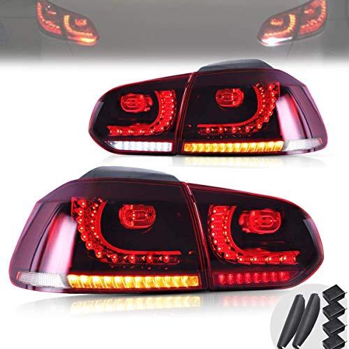 VLAND Rückleuchten für Golf 6 MK6 VI GTI GTD R TSI TDI 2008-2013 Heckleuchten mit sequentiellem Dynamik Blinker,PLUG AND PLAY,Rot/Crystal