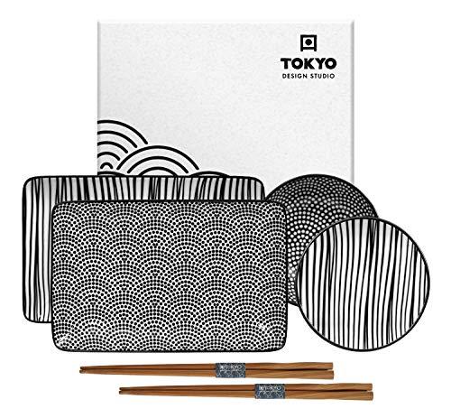 TOKYO design studio Nippon Black Sushi-Set schwarz-weiß, 6-TLG, 2X Sushi-Platten 2X Saucen-Schalen, 2X Essstäbchen, asiatisches Porzellan, Japanisches Design, inkl. Geschenk-Verpackung