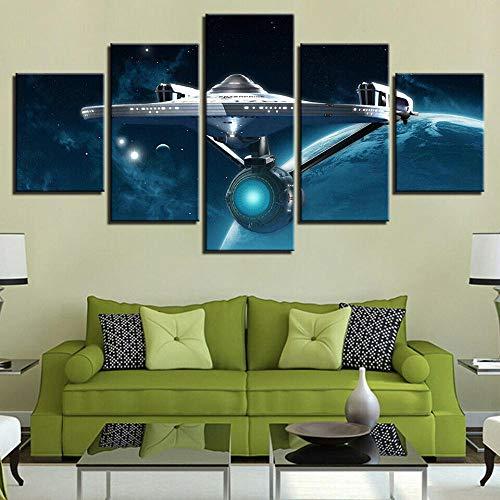 13Tdfc Bilder 150X80Cm Vlies Leinwandbild 5 TLG Kunstdruck Modern Wandbilder XXL Wanddekor Design Wand Bild -Star Trek Enterprise Raumschiff Star Space War - Kunstdruck XXL 5 Teilig