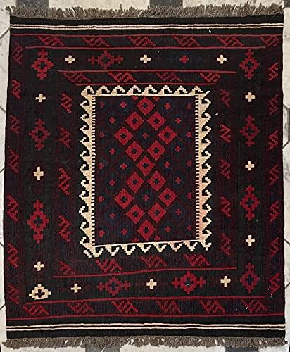 Alfombra oriental afgana hecha a mano Kilim de lana de colores naturales afganos turcos nómada persa tradicional persa 88 x 102 cm vintage corredor pasillo escalera reversible