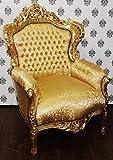 Casa Padrino Barock Sessel King Gold Muster/Gold - Möbel Antik Stil