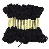 Lot de 12 fils de fil à broder à 6 brins, 8 m - Noir