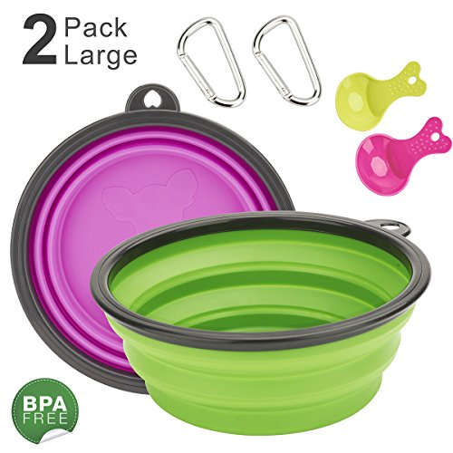 DARUNAXY Extra Large Adjustable Cups, 2 Pack,Green & Purple Food Grade Silicone BPA Free FDA Approved, Double Portable Outdoor Travel Cups Free Carabiner