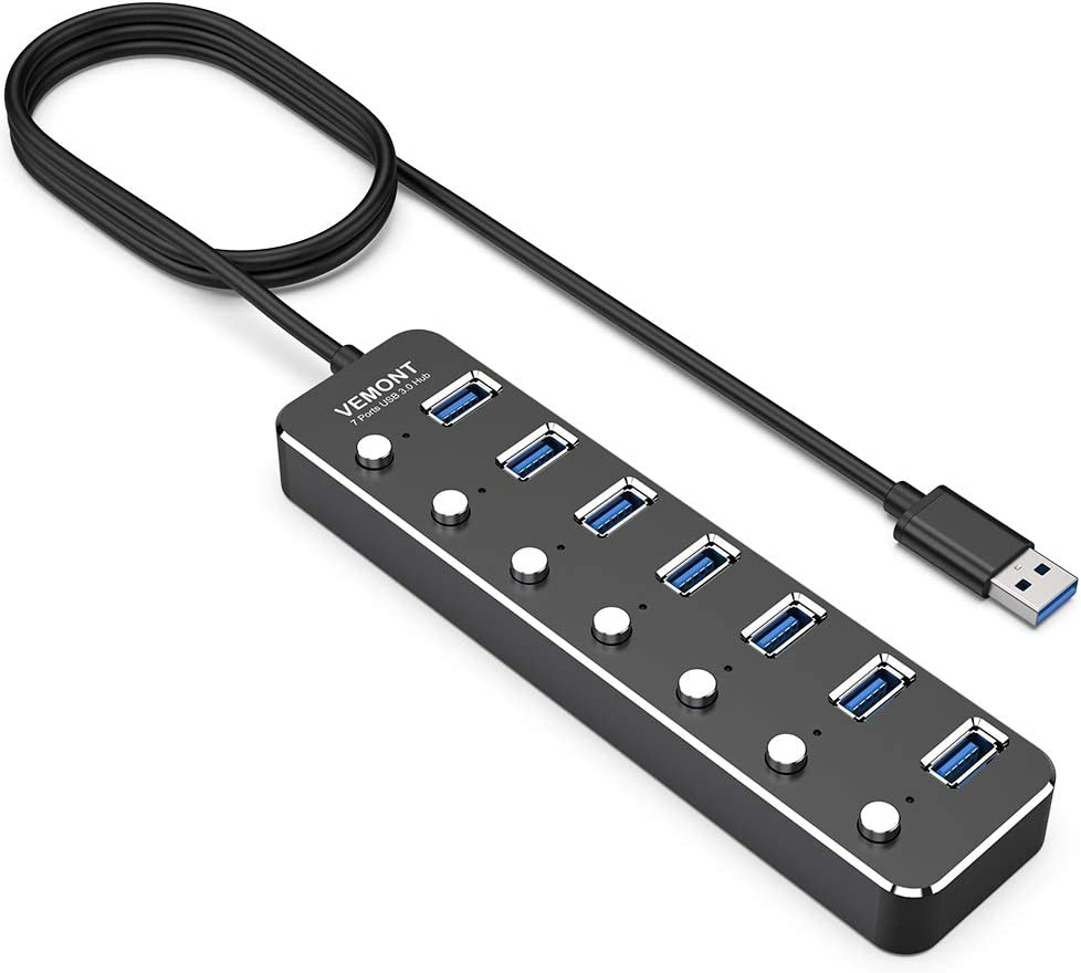 USB Hub Splitter, VEMONT USB 3.0 Aluminum Data Hub with Individual On/Off Switches and LED Lights for Laptop, PC Computer (4ft/120cm) (7port)
